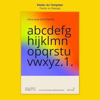 フォントとデザインの縦型ポスター