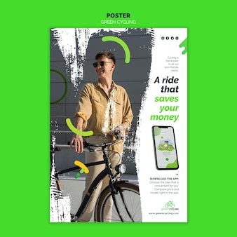 녹색 자전거를위한 수직 포스터
