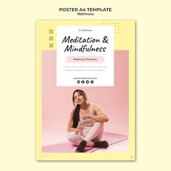 여성이 피트니스를하고 건강과 웰빙을위한 수직 포스터