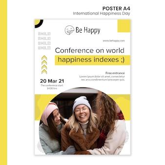 국제 행복의 날 세로 포스터