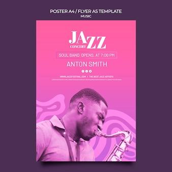 재즈 페스티벌 및 클럽 용 세로 포스터