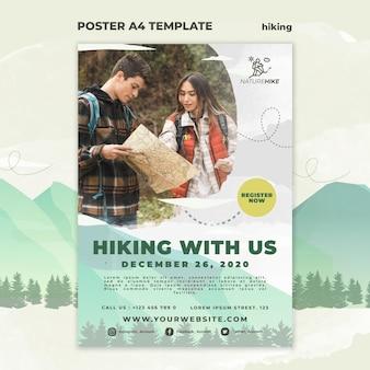 자연 하이킹을위한 수직 포스터