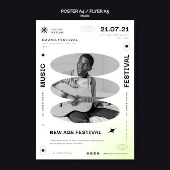 Вертикальный плакат для музыкального фестиваля нью-эйдж