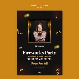 여자와 색종이와 새 해 파티를위한 수직 포스터