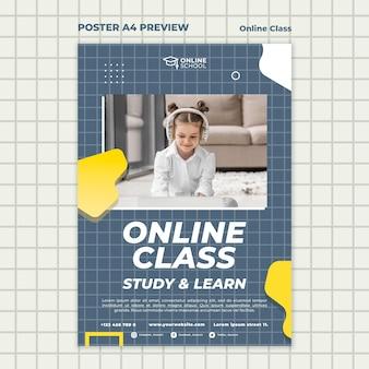 자녀와 함께 온라인 수업을위한 세로 형 포스터 무료 PSD 파일