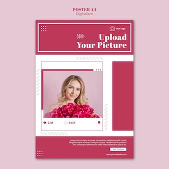 ソーシャルメディアの写真をアップロードするための垂直ポスター
