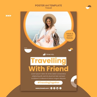 女性と一緒に旅行するための縦のポスター
