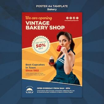 女性とヴィンテージベーカリーショップの縦のポスター
