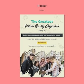 バーチャルリアリティの休暇旅行のための垂直ポスター