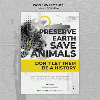 야생 동물 및 환경 보호를위한 세로 포스터