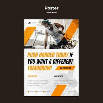 대유행 중 체육관에서 운동하기위한 세로 포스터