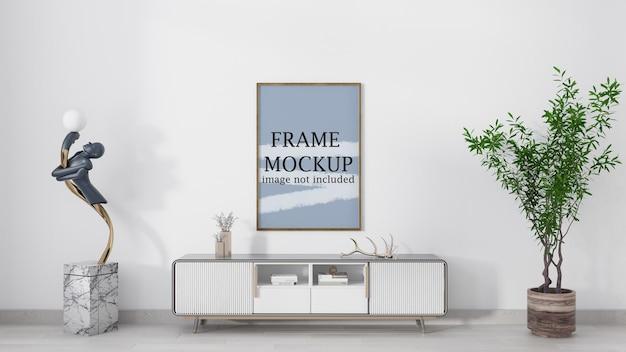 Vertical poster frame mockup on wall