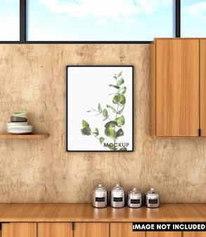 Вертикальная рамка для плаката на деревянной стене с кухней середины века