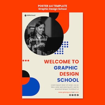 Vertical poster for graphic design school