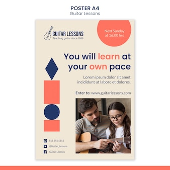 Vertical poster for guitar lessons