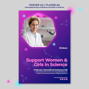 Vertical poster for internation day of women and girls in science celebration with female scientist