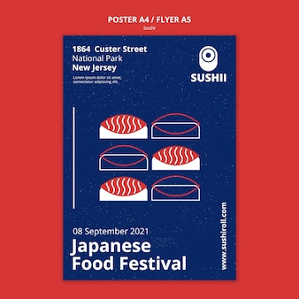 Vertical poster for japanese food festival with sushi