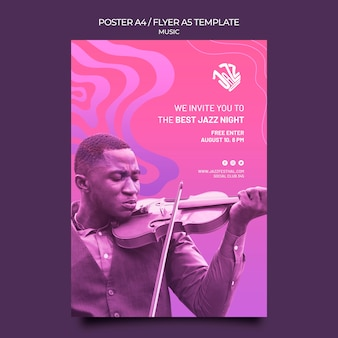Vertical poster for jazz festival and club