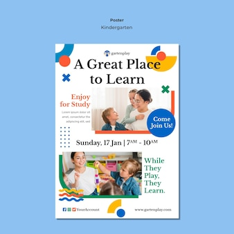 Vertical poster for kindergarten with children