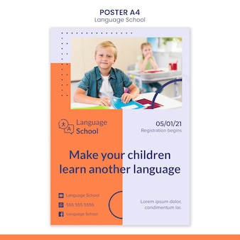 Vertical poster for language school