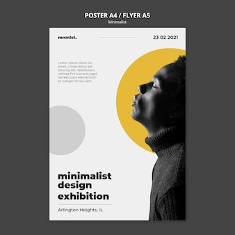 Vertical poster in minimal style for art gallery with man