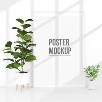 鉢植えの植物の装飾の近くの垂直ポスターモックアップ