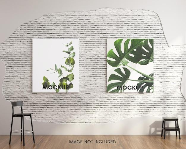 Вертикальный макет плаката на белой кирпичной стене