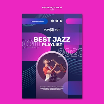 Vertical poster for music with male jazz player and saxophone