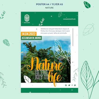Vertical poster for nature with wild life landscape