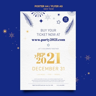 Vertical poster for new years party celebration Free Psd