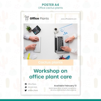 Vertical poster for office workspace plants