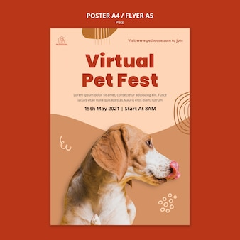 Vertical poster for pets with cute dog Free Psd