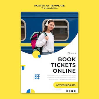 Vertical poster for public transportation by train with woman