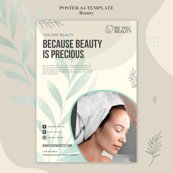 Vertical poster for skincare and beauty with woman