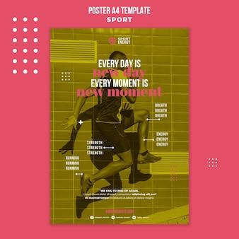 Poster verticale per lo sport con citazioni motivazionali