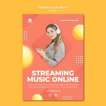 Vertical poster for streaming music online with woman wearing headphones
