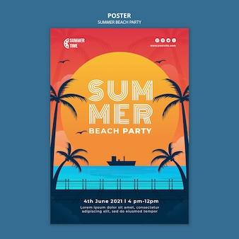 Poster verticale per festa in spiaggia estiva