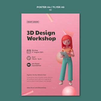 Vertical poster template for 3d design with woman