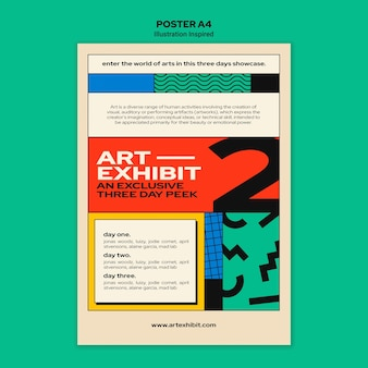 Vertical poster template for art exhibition