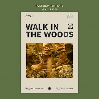 Modello di poster verticale per l'avventura autunnale nella foresta