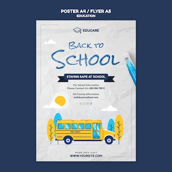 Vertical poster template for back to school