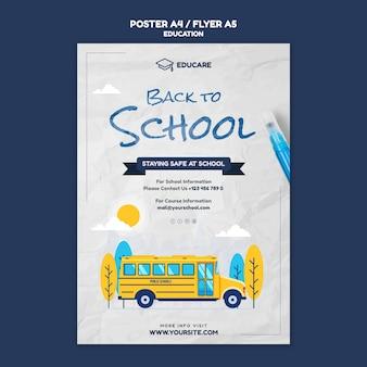 Modello di poster verticale per tornare a scuola