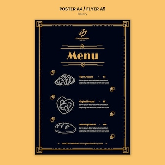 Vertical poster template for bakery shop with hand drawn blackboard