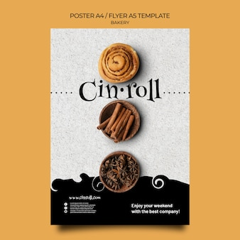 Vertical poster template for bakery shop