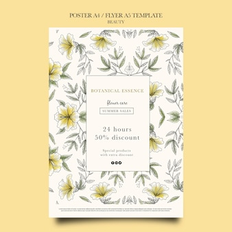 Vertical poster template for beauty products with hand drawn flowers