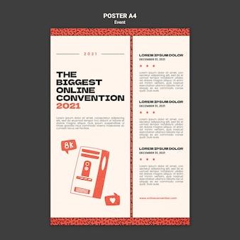 Modello di poster verticale per la più grande convezione online 2021