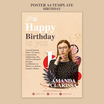Vertical poster template for birthday anniversary celebration
