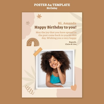 Vertical poster template for birthday celebration