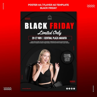 Vertical poster template for black friday sale