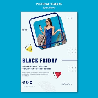 Vertical poster template for black friday with woman and triangles